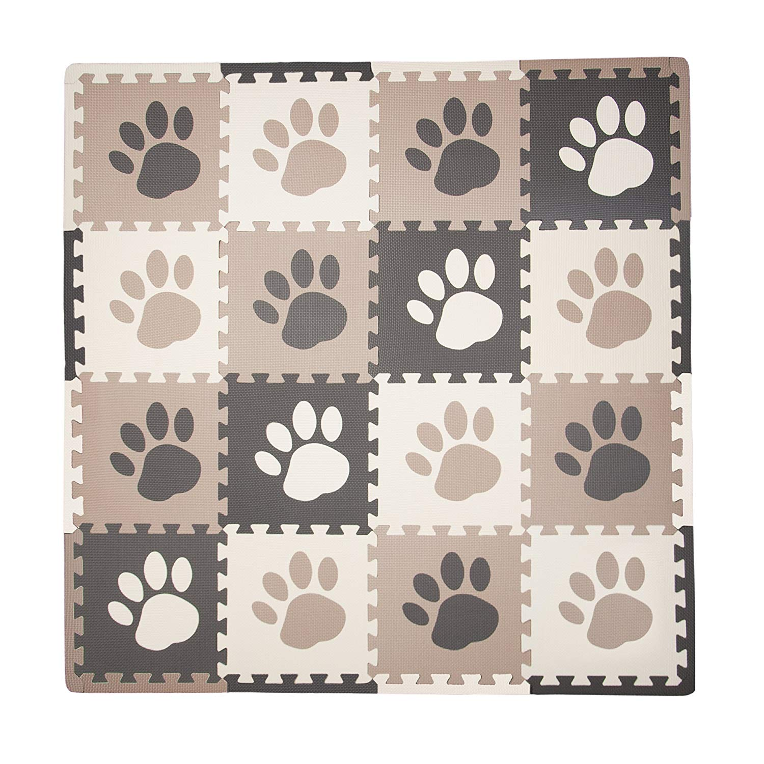 16 Sq Ft Pawprint Playmat Set, Brown Tadpoles