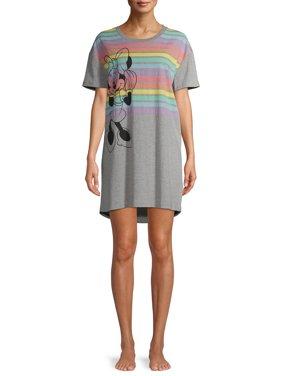 Disney Women's Minnie Half Stripe Pajama Sleep Shirt