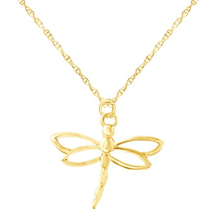 14K Yellow Gold Over Sterling Silver Dragonfly Charm Pendant Necklace