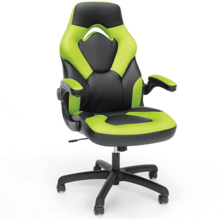 Image of Adjustable Leather/Mesh Gaming/Office Chair with Wheels Green - Ofm