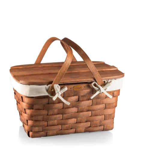 Prairie Picnic Basket with Lining Wood,Beige,Tan by