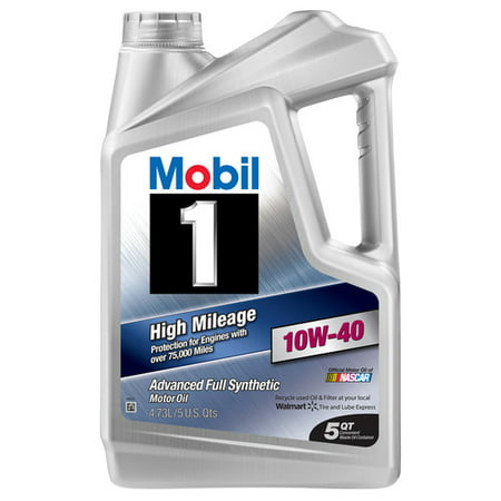 10w40 Motor Oil ((3 Pack) Mobil 1 10W-40 High Mileage Advanced Full Synthetic Motor Oil, 5 qt.)