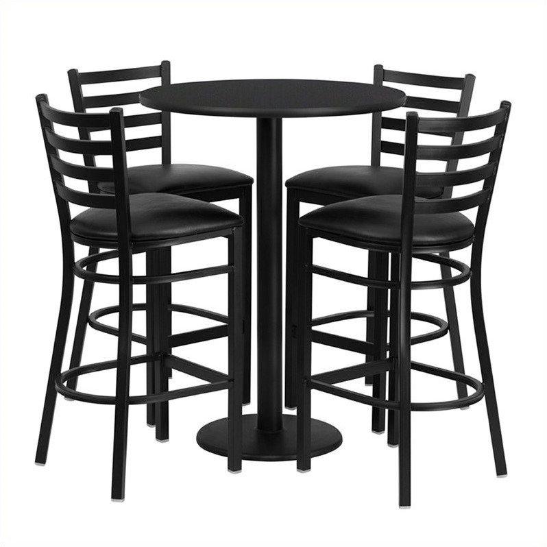 Flash Furniture 30'' Round Black Laminate Table Set with 4 Ladder Back Metal Barstools, Black Vinyl Seat