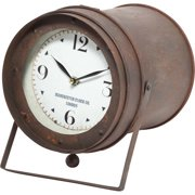 Mercana Industrial Table Clock With Brown Finish 63024