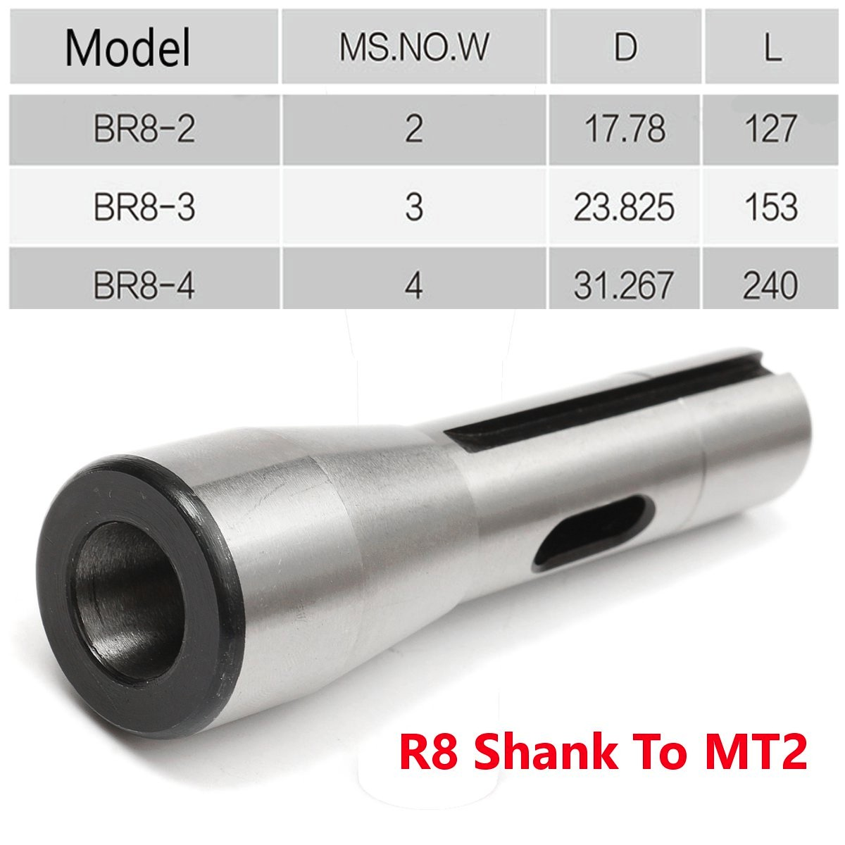 R8 SHANK-2MT DRILL CHUCK ARBOR ADAPTER SLEEVE FIT BRIDGEPORT MT2 MORSE TAPER