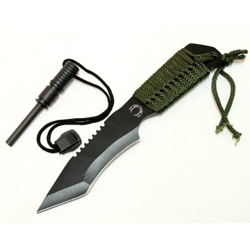 """Defender 7"""" Hunting Knife With Fire Starter Black Tactical Blade With Sheath"""