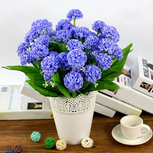 Heepo 1 Bunch 9 Head Artificial Hydrangea Silk Flower Bouquet Wedding Party Decor