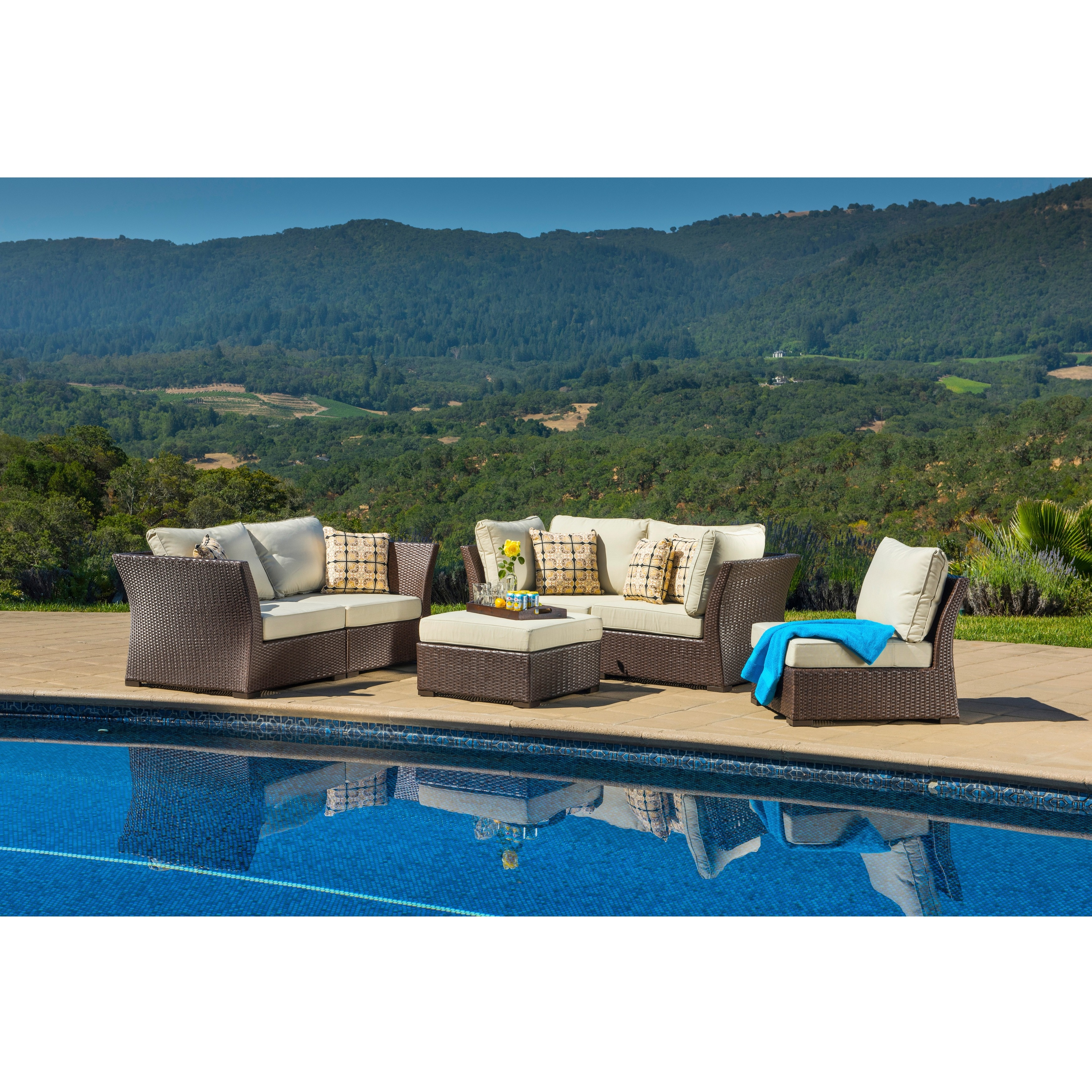 Corvus  Oreanne Outdoor 6-piece Brown Wicker Sofa Set