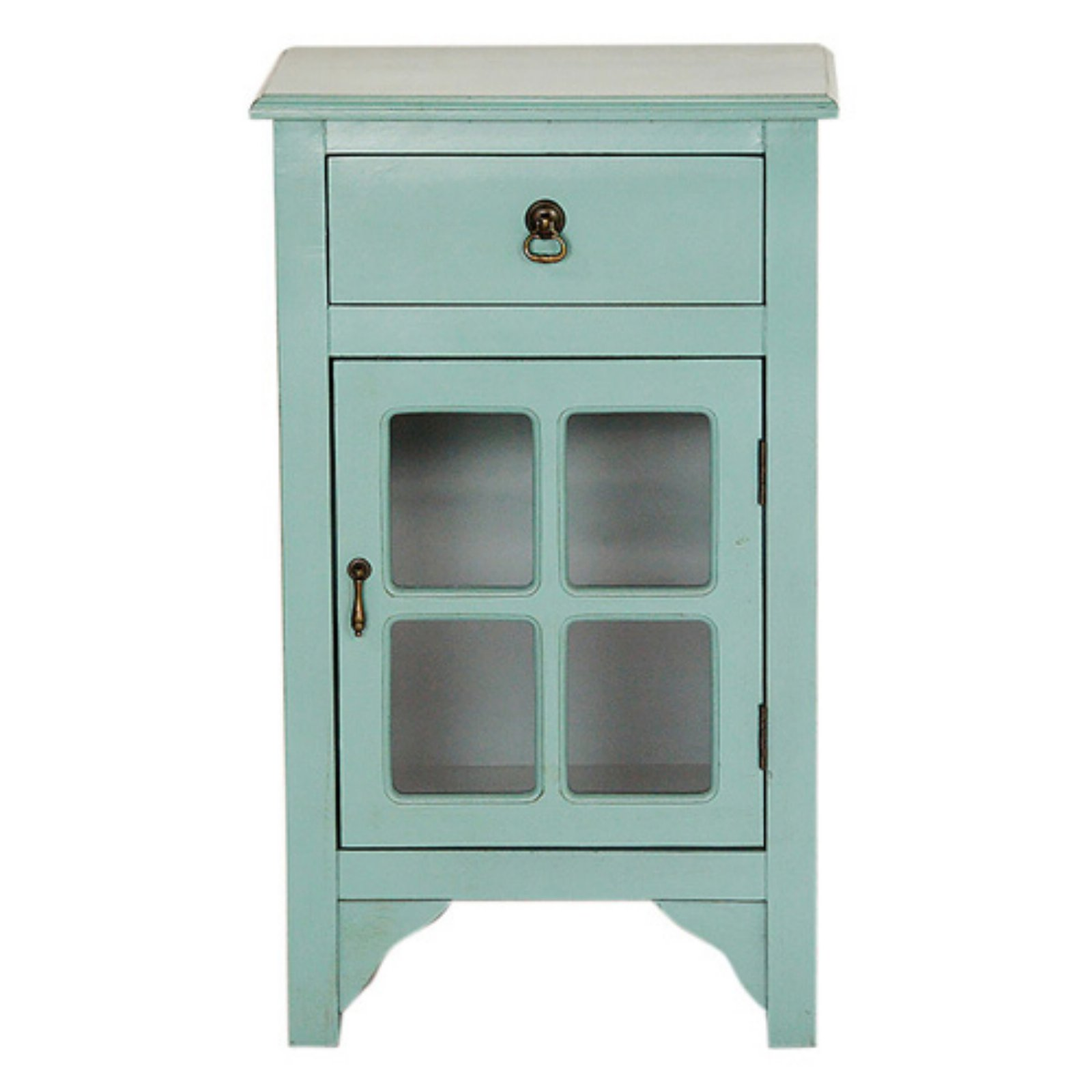 Heather Ann Creations Vivian 1 Drawer 1 Door Paned Glass Accent Cabinet