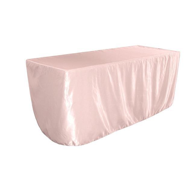 LA Linen TCbridal-fit-72x24x30-PinkB37 Fitted Bridal Satin Tablecloth, Light Pink 72 x 24... by LA Linen
