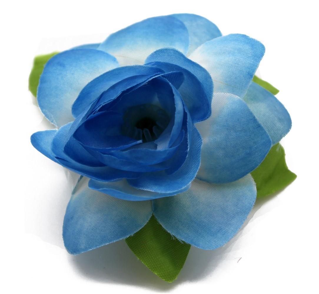 Hawaii Luau Party Artificial Fabric Gardenia Hair Clips Blue 4 Pack