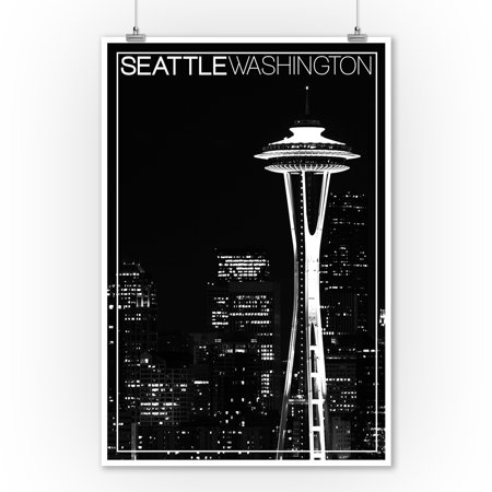 Straight Needles Lantern - Seattle, Washington - Space Needle and Skyline at Night - Lantern Press Artwork (9x12 Art Print, Wall Decor Travel Poster)
