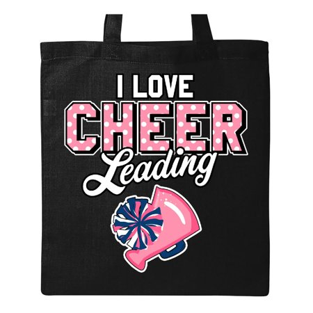 I Love Cheerleading with Pom Poms and Megaphone Inversed Text Tote Bag Black One Size for $<!---->