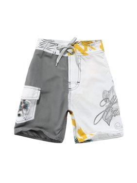 Boy Hawaiian Swimwear Board Shorts with Tie in White and Grey with Yellow Floral 2 Year Old