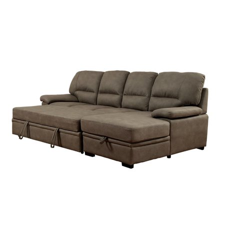 Furniture of America Clair Modern Convertible Sectional in Ash Brown