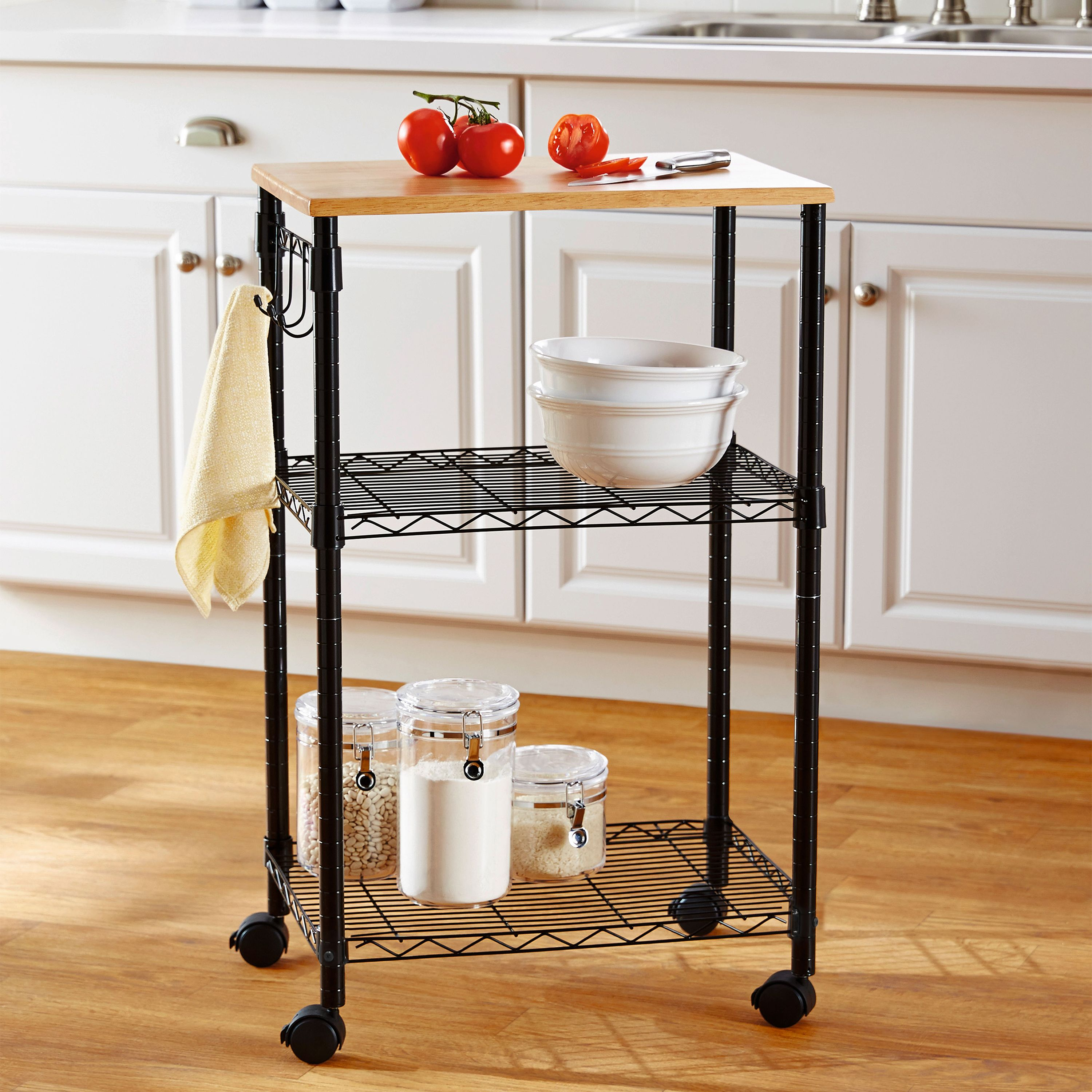 Mainstays Multi-Purpose Kitchen Cart with Adjustable Shelves- Black