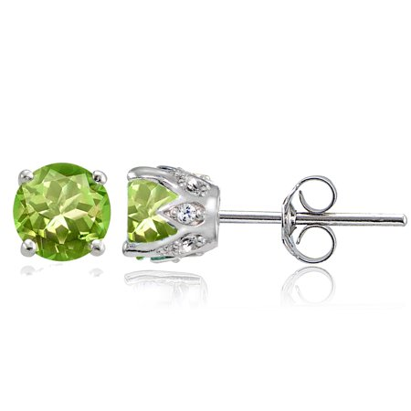 Glitzy Rocks Sterling Silver Gemstone And White Topaz Crown Stud Earrings