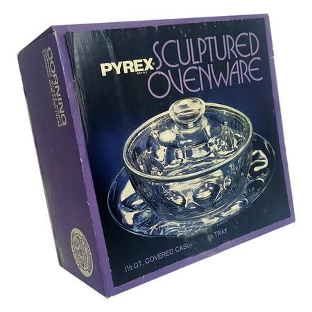 Vintage Pyrex 883 Sculptured Glass Ovenware 1.5 Quart Casserole w/Lid and Tray 3 Piece Set