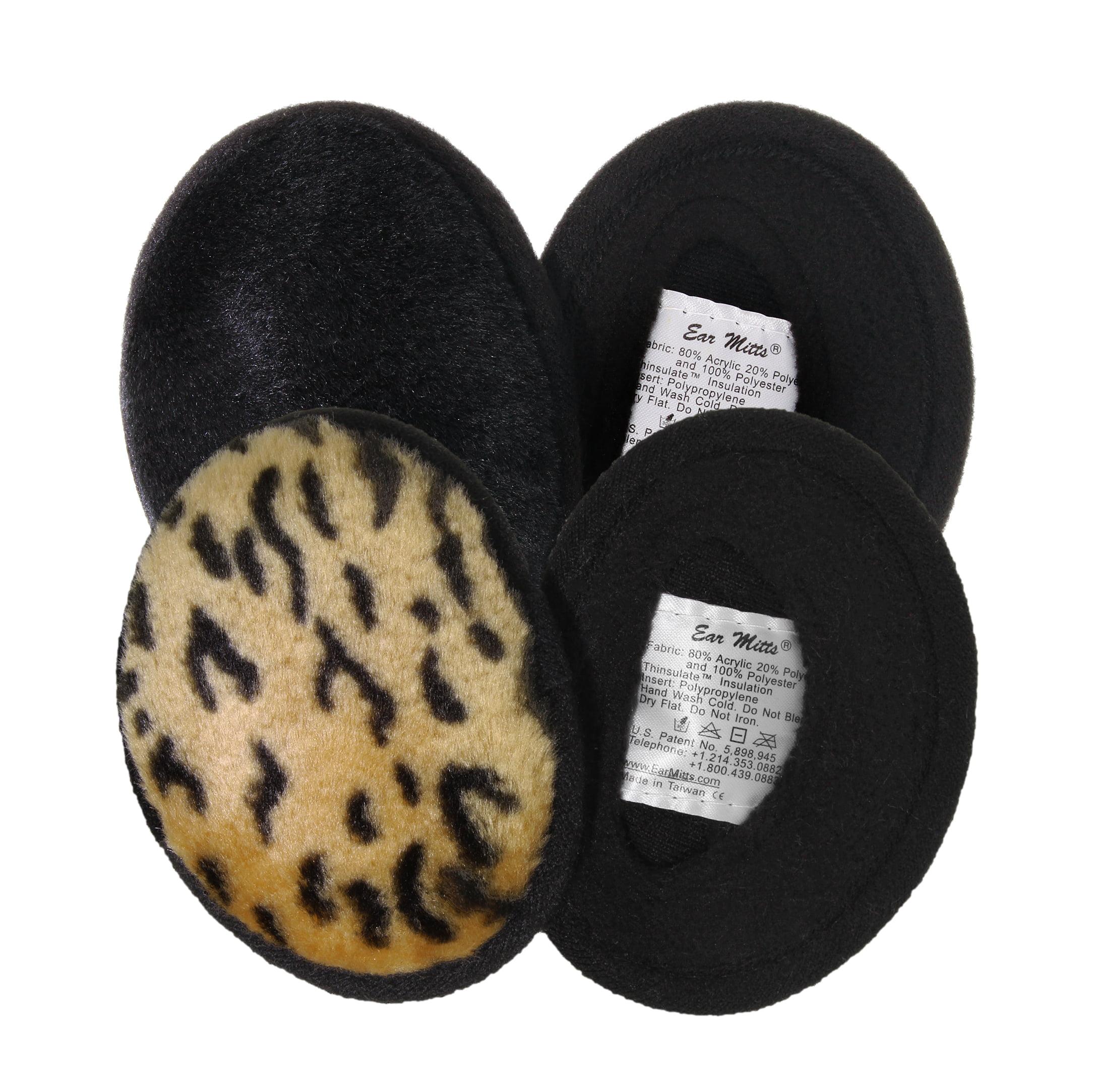 2 Pack Bundle - Black Mink & Leopard Faux Fur Bandless Ea...