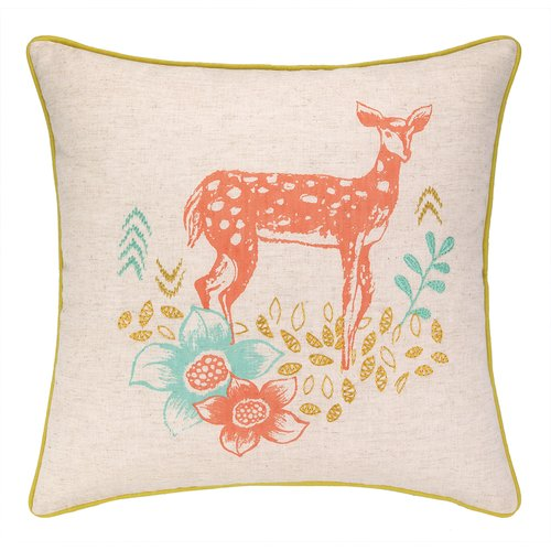 Sarah Watts Deer Park Printed Reversible Throw Pillow