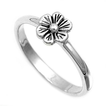 Unique Flower Ring - Sterling Silver Women's Simple Flower Ring Unique 925 Band 8mm New Size 8