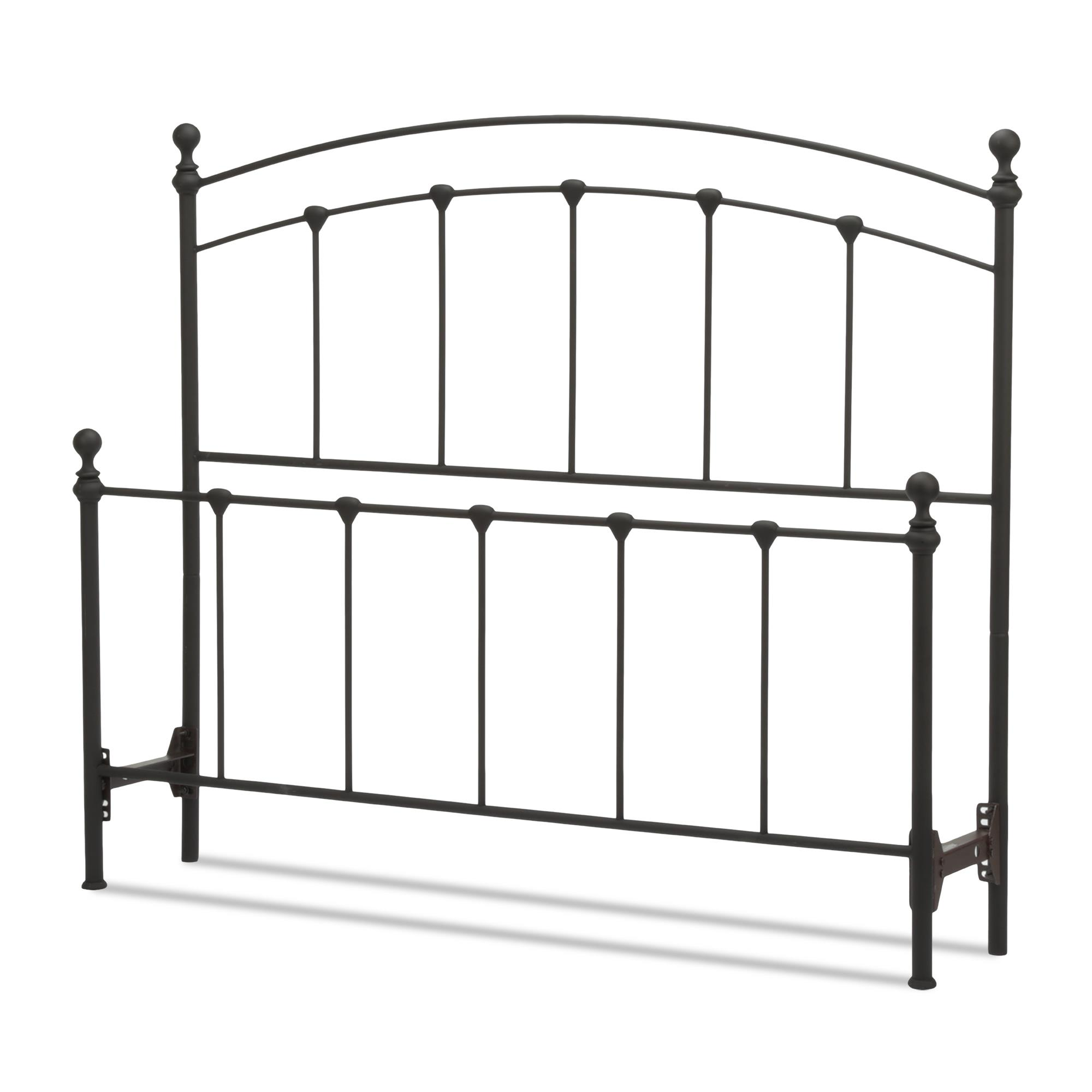 Sanford Metal Headboard and Footboard Bed Panels with Castings and Round Finial Posts, Matte Black Finish, California King