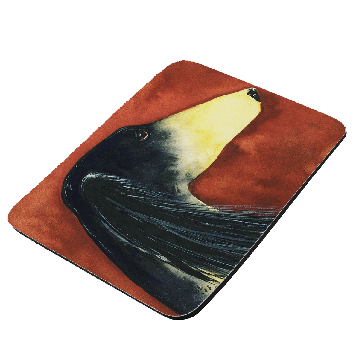 Black & Tan Saluki Sighthound Dog Art by Denise Every - KuzmarK Mousepad / Hot Pad / Trivet