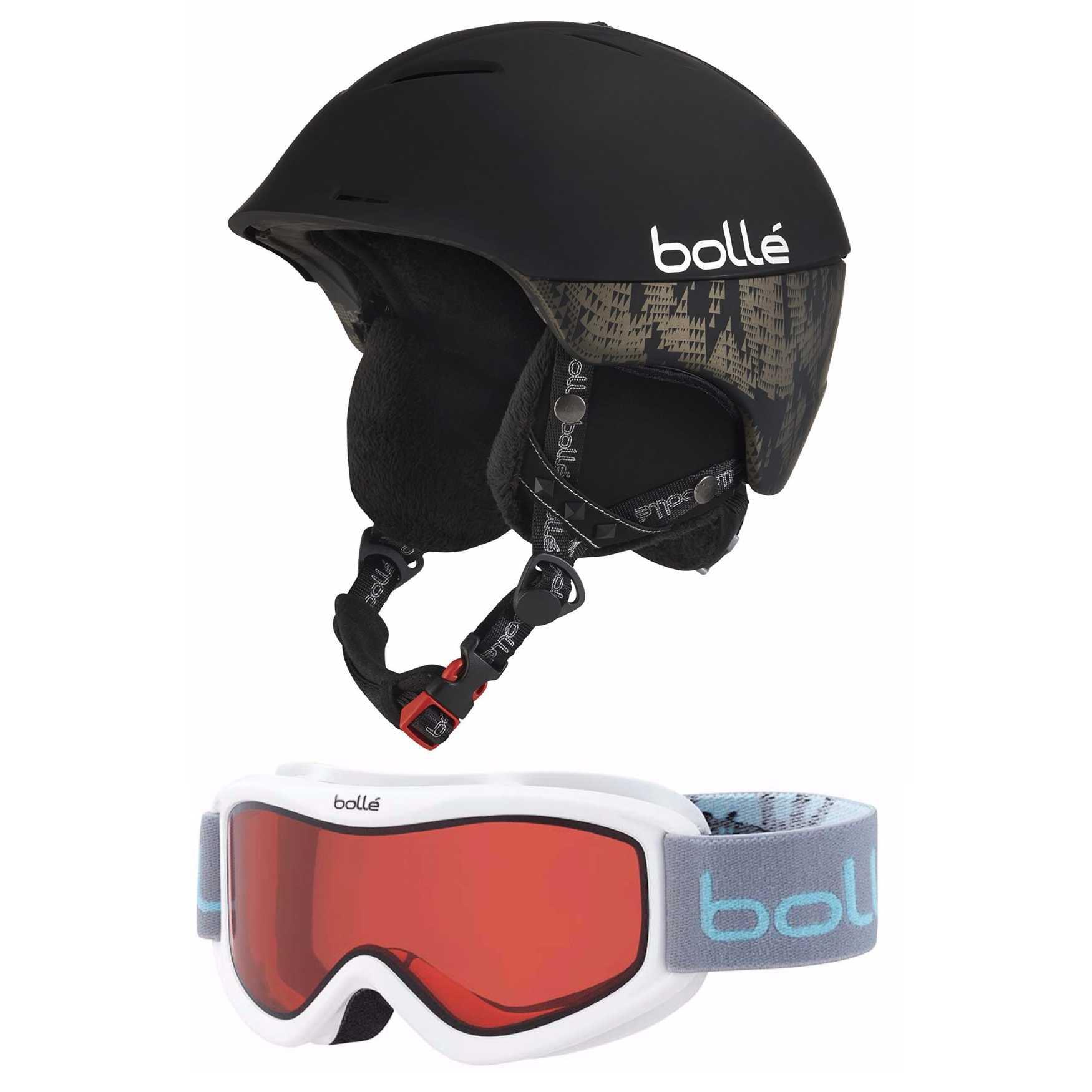 Bolle 30376 Synergy Ventilated Ski Helmet (Black, 54-58 cm) & 21579 Amp Goggles by Bolle