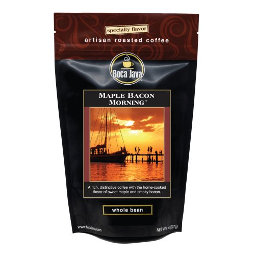 Boca Java Roast to Order Maple Bacon Morning Flavored Whole Bean Coffee, 8 oz Bag