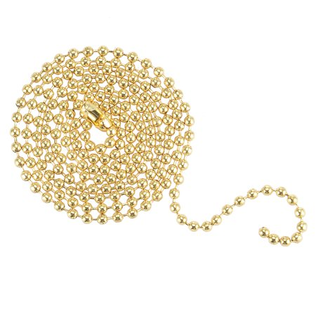 Unique Bargains Polished Brass 3 Feet Long Ball Bead Chain Clasp Keychain for Ceiling