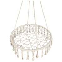 Best Choice Products Handwoven Cotton Macrame Hammock Hanging Chair Swing for Indoor & Outdoor w/ Fringe Tassels - Cream