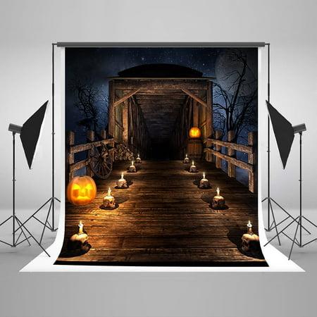 GreenDecor Polyster 5x7ft Halloween Photography Backdrops Wooden Bridge Pumpkin Photo Backgrounds Backdrops Candle Newborn Photo Video