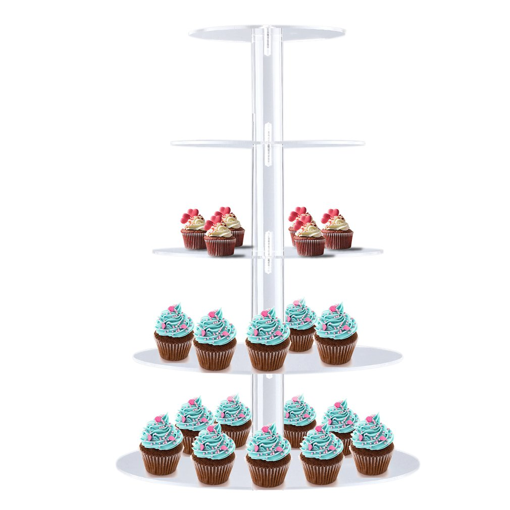 CNMODLE 5 Tiers Detachable Clear Round Cup Cake Cupcake Stand Wedding Birthday Party Christmas Events Dessert Display Holder