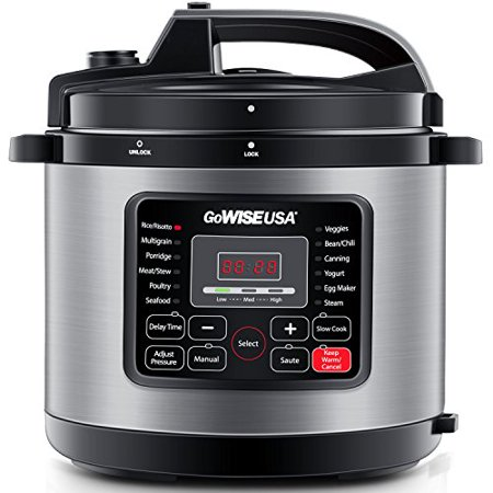 GoWISE USA 10-Quart 12-in-1 Electric Programmable Pressure Cooker (Stainless Steel)