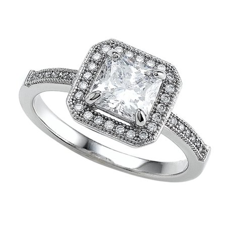 Zoe R Sterling Silver Micro Pave Hand Set Cubic Zirconia Cz Princess Cut Center Engagement Ring