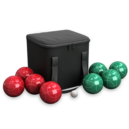- Bocce Ball Set- Outdoor Family Bocce Game for Backyard, Lawn, Beach and More- Red and Green Balls, Pallino, and Equipment Carrying Case by Hey! Play!