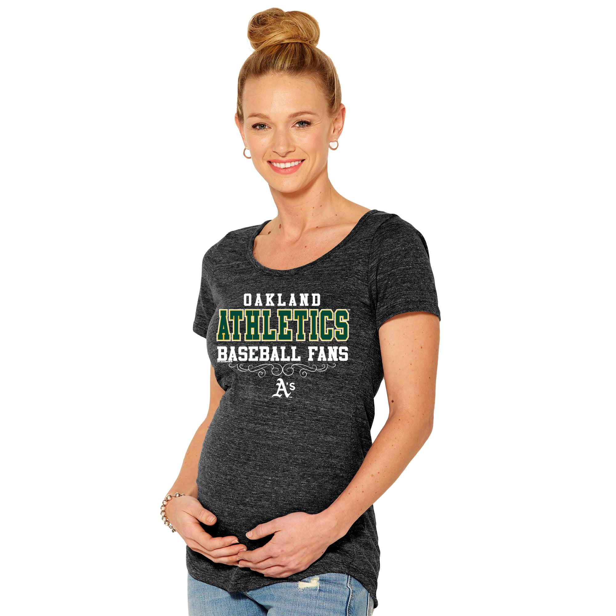 Oakland Athletics Soft As A Grape Women's Fans Tri-Blend Maternity T-Shirt - Black