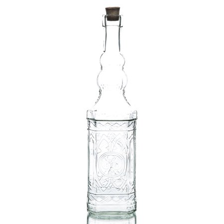 Richland Vintage Square Glass Bottle Clear Set of 6