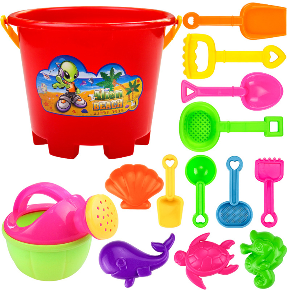 Redcolourful 14 Pcs Children Summer Beach Toys Plastic Shovel Toy Sand Mold Hourglass Set Play Sand Toy Gift for Boys... by