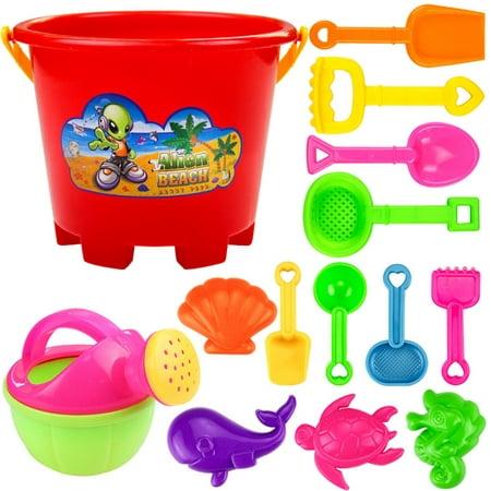 14pcs Children Summer Beach Toys Plastic Shovel Toys Sand Mold Hourglass Set Gift for Kids Children Baby Style:Combo 1 (Toddler Travel Beach Toys)