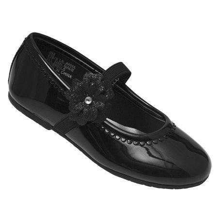 Black Patent Mary Jane Shoes - Girls Black Patent Glitter Flower Elastic Strap Mary Jane Shoes