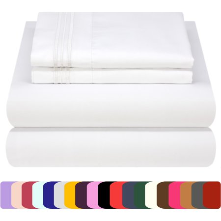 Mezzati Luxury 1800 Prestige Soft and Comfortable Collection Bed Sheets Set Queen White