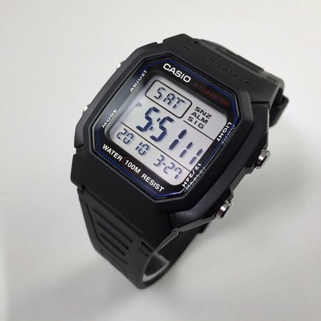 Casio W800H-1AV W800h 100m Water Resistant Dual Time Alarm With Snooze Led Light With Afterglow
