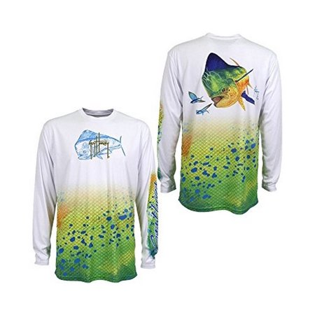 Guy Harvey Mens DORADO MENS L/S, White , XL
