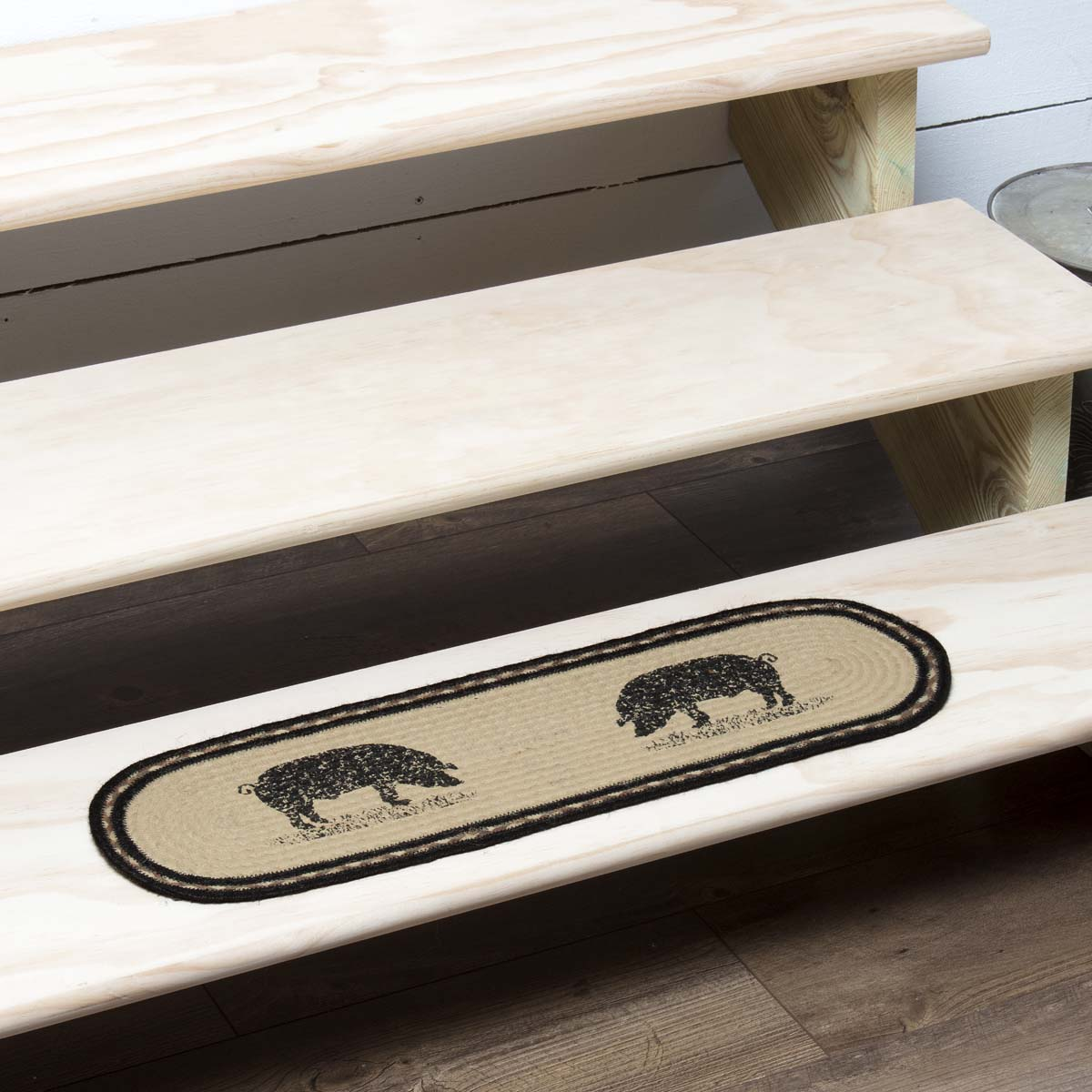 Bleached White Farmhouse Flooring Miller Farm Charcoal Pig Jute Latex Backing Stenciled Nature Print Oval Stair Tread