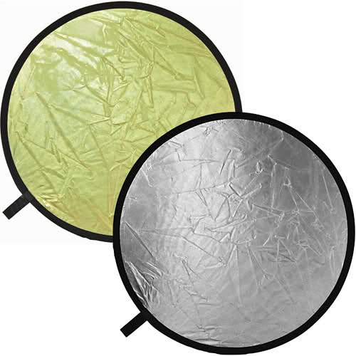 "Polaroid Pro Studio 32"" Collapsible Circular Reflector Disc, Gold/Silver Includes Deluxe Carrying Case"