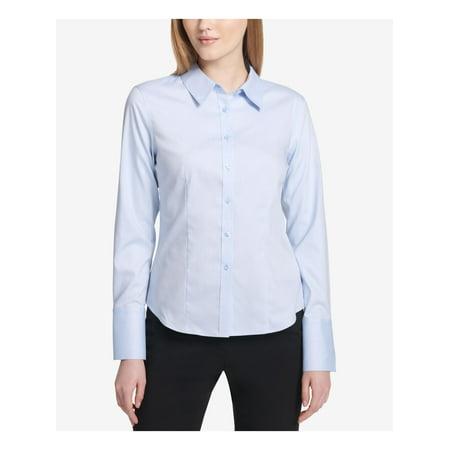 CALVIN KLEIN Womens Blue Cuffed Collared Button Up Top Size 14P