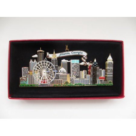 Atlanta Georgia Brass Christmas Ornament City Skyline Ferris -