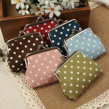 Purse Clip (HiCoup Women's Mini Polka Dot Cotton Coin Purse Twist Clip Framed Change Bag)
