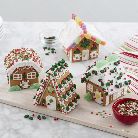 - Wilton Build-it-Yourself Gingerbread Mini Village Decorating Kit, 4-House Set